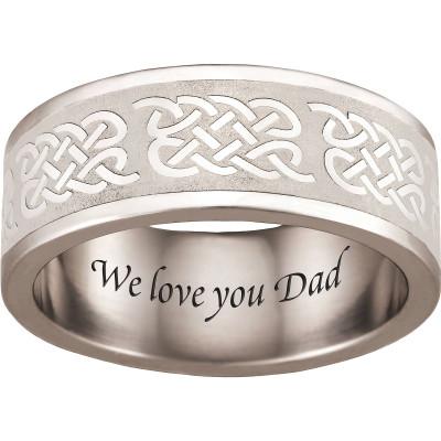 Personalized Keepsake Sterling Silver Men's Celtic Ring