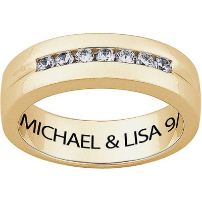 Personalized Men's CZ 18kt Gold Engraved Wedding Ring