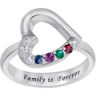 """Personalized Mother's Sterling Silver """"Family is Forever"""" Birthstone Heart Ring with Diamond Accent"""