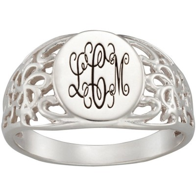 Personalized Sandra Magsamen Sterling Silver Signet Ring