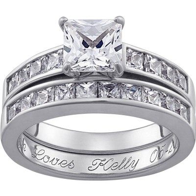 Personalized Square CZ Two-Piece Engraved Wedding Ring Set in Sterling Silver