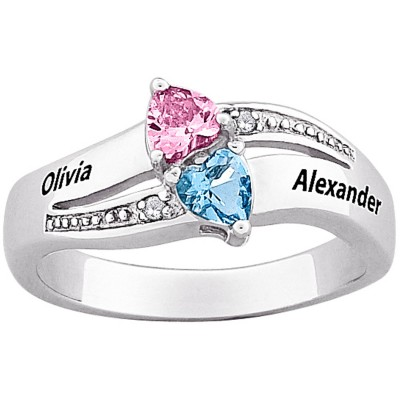 Personalized Sterling Silver Couple's Name and Birthstone Heart Diamond Accent Ring