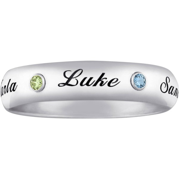 Personalized Sterling Silver Family Name & Birthstone Ring