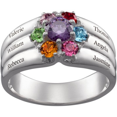 Personalized Sterling Silver or 18K Gold over Silver Family Round Birthstone and Name Ring