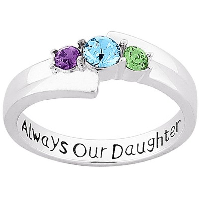 "Personalized Sterling Silver ""Always Our Daughter"" Birthstone Ring"