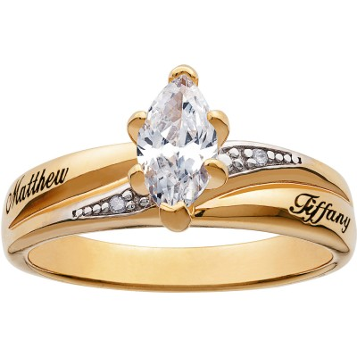 Personalized Two-Tone Marquise Cubic Zirconium Engagement Ring with Diamond Accents