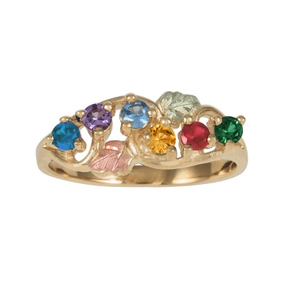 Personalized Women's 18kt Gold Two Leaf Family Mother's Ring with Genuine Stones