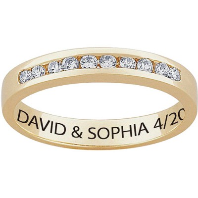 Personalized Women's CZ 18kt Gold Engraved Wedding Ring