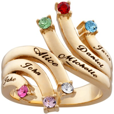Personalized Women's Gold Over  Silver  Family Cascading Name & Birthstone Ring