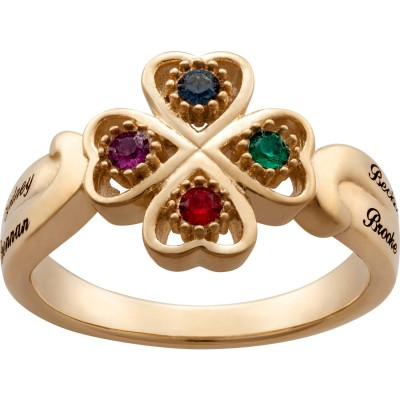 Personalized Women's Gold Over Silver Name & Heart Birthstone Ring