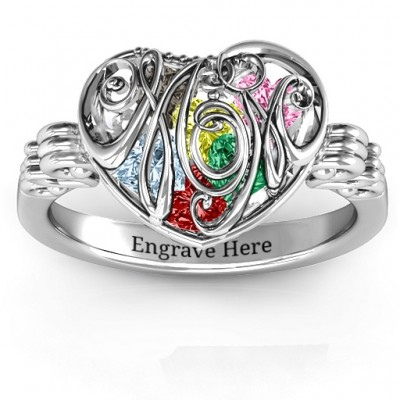 Cursive Mom Caged Hearts Ring with Butterfly Wings Band