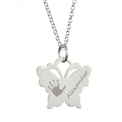 Personalised Necklaces - Engraved Butterfly Handprint Necklace