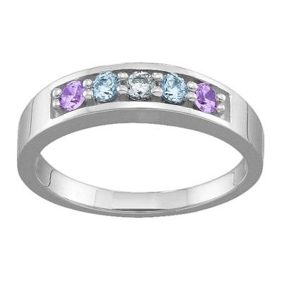 Geometric 3-6 Stones Ring