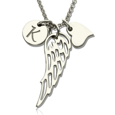Personalised Necklaces - Girls Angel Wing Necklace Gifts With Heart Initial Charm
