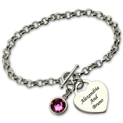 Charm Personalised Bracelet with Birthstone Name
