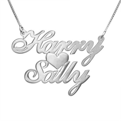 Personalised Necklaces - Two Names Heart Love Necklace