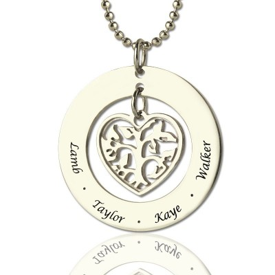 Personalised Necklaces - Heart Family Tree Necklace