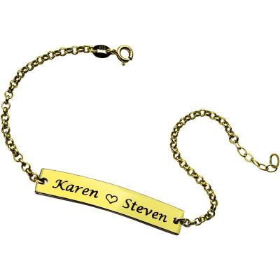 Couple Bar Personalised Bracelet Engraved Name