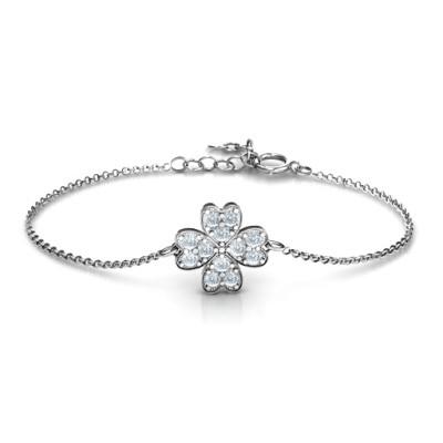 Four Leaf Heart Clover Personalised Bracelet
