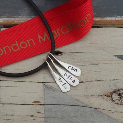 Personalised Necklaces - Triathlon Swim Bike Run Necklace